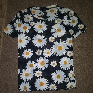 Mesh daisy flower shirt